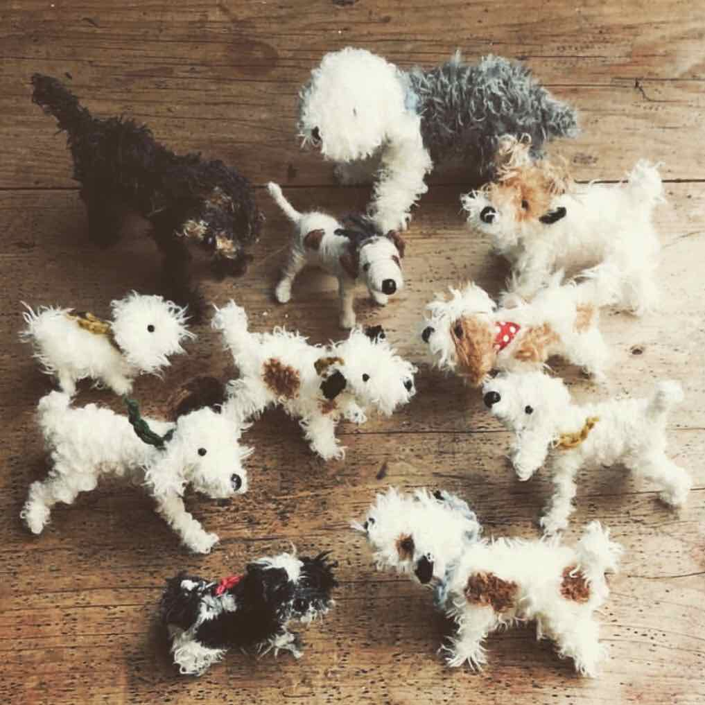 Group of dogs puppets